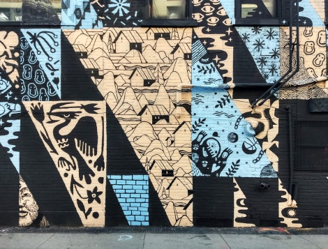 detail of a multi-artist wall for the 2019 edition of Under Pressure featuring SBU One, LSNR, MSHL, Bosny, Loopkin, Le Monstr, Maylee Keo