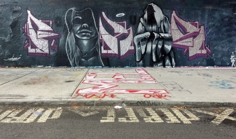 Fokus (letters) and Deps (characters) at the Rouen legal graffiti wall