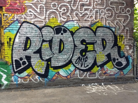 Rider in a central graffiti alley