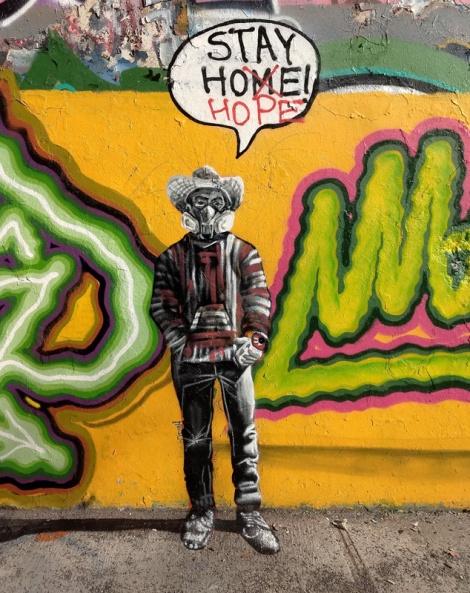 Omar Bernal self portrait at the Rouen legal graffiti tunnel