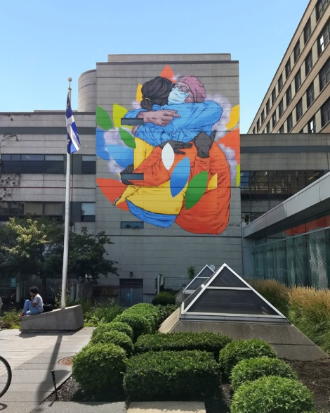 Patrick Forchild mural on the Jewish General Hospital, for the 2020 edition of Mural Festival