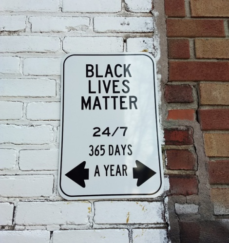 "Fake ""Black Lives Matter"" sign, unidentified artist"