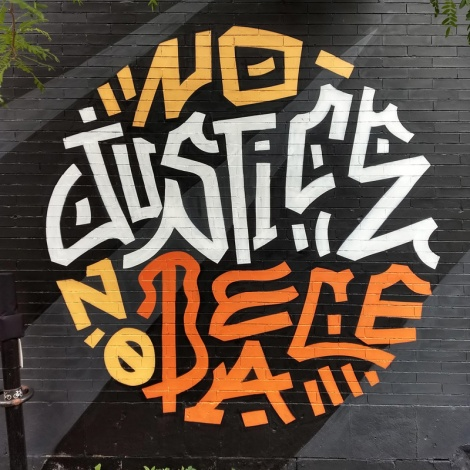 No Justice No Peace by Louis Letters, detail from a longer mural