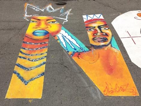 """detail of Maliciouz's contribution to the """"La vie des noir.e.s compte"""" street piece"""