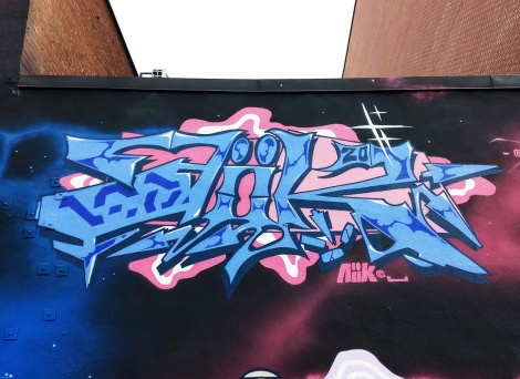 Aiik's name piece on the 123 Klan wall for the 2020 edition of Under Pressure