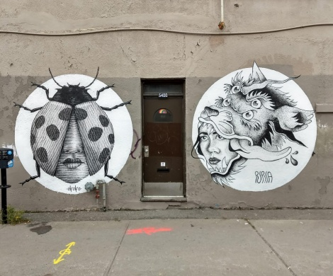 Pair of pieces by Alfalfa (left) and Pupila (right), in Rosemont