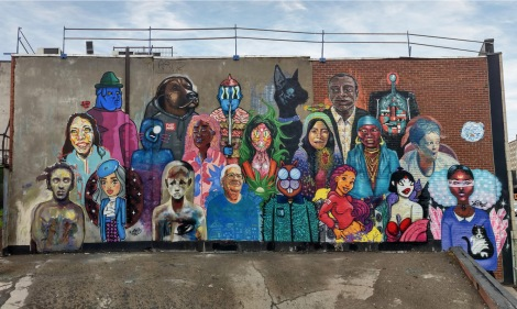 Group mural in Villeray. Front row: Kando, Her, Melsa Montagne, LNA, Fokus, Wuna, Tshoko and Mins. Middle row: Ravens Or Crows, Aldarwin, Moule, Math Lamarre, Omar Bernal, Maliciouz and Mastrocola Back row: Adi, Derap, Waxhead, Sibo, Grils and Borrris