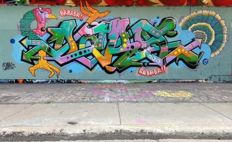 Dars on letters and Omar Bernal on figurative parts, at the PSC legal graffiti wall