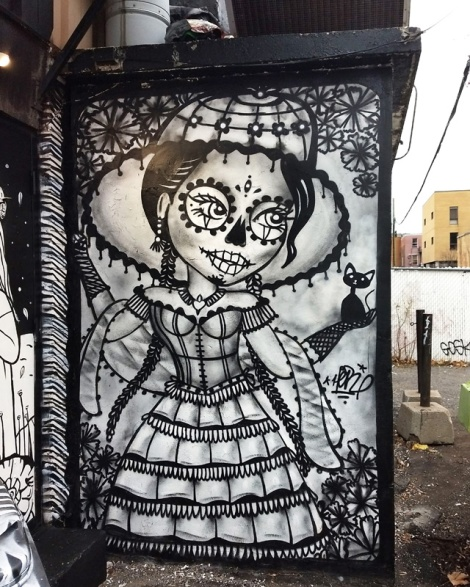Her's contribution to a Dia de los Muertos production on the walls of a Hochelaga taqueria