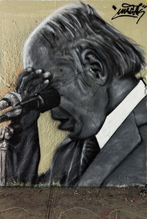 portrait of René Lévesque by Macak on the 40th anniversary of the first Québec referendum. Found at the Rouen legal graffiti tunnel.