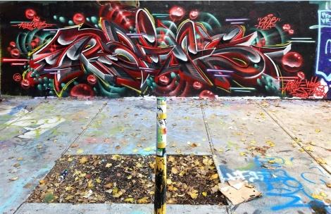 Rains at the Rouen legal graffiti tunnel